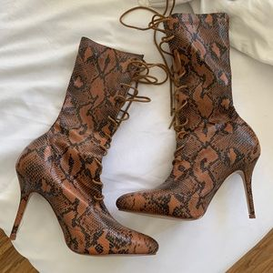 Brown Snake Print Lace Up Heel Boot